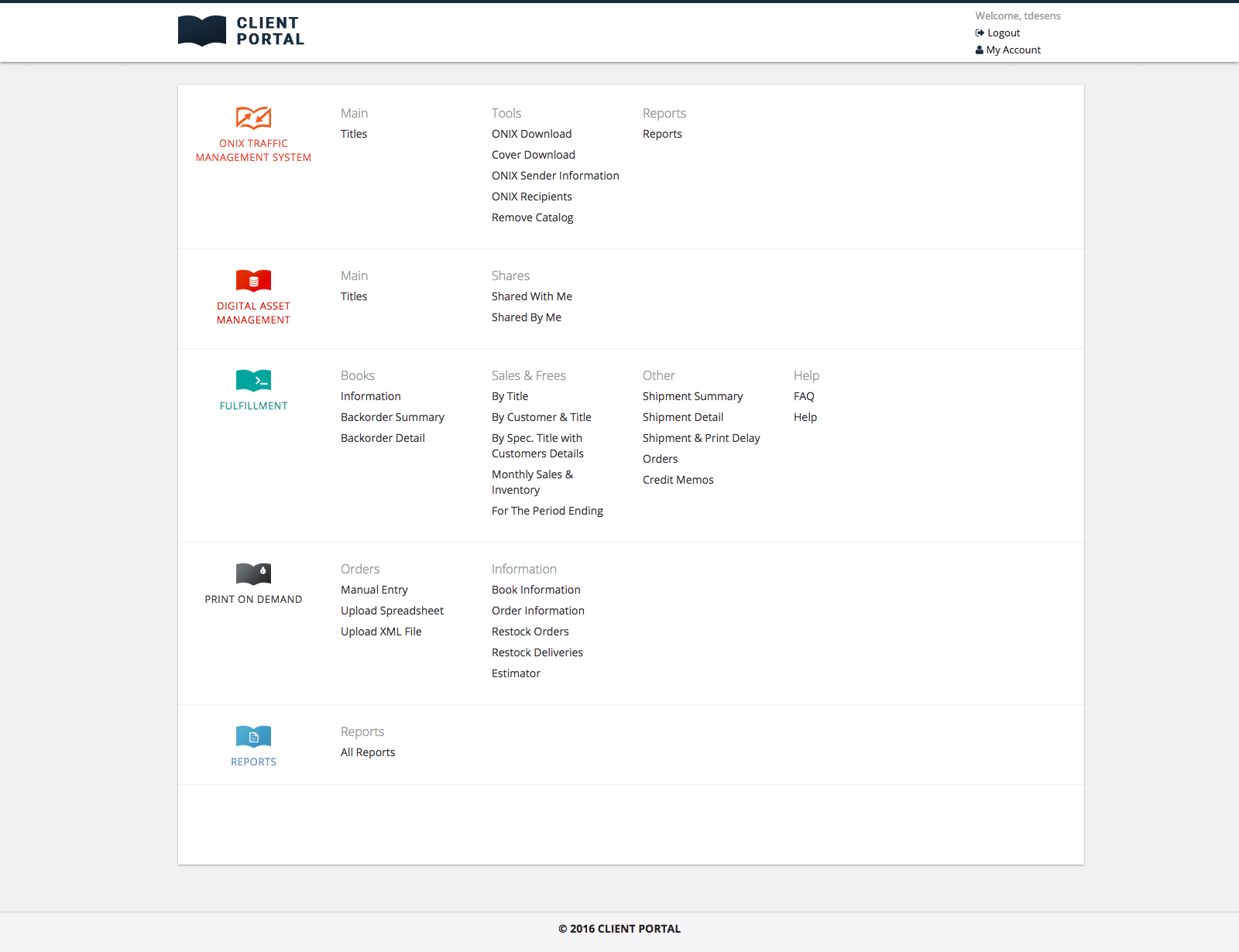 Client Portal menu screenshot